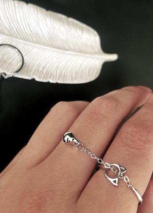 Кольцо с цепочкой серебро 925