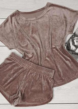 Женская плюшевая пижама стильная футболка и шорты. домашняя одежда