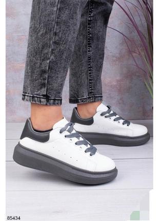 Кеди кеды маквины маквіни кросівки кроси кроссы кроссовки кожаные из эко кожи шкіряні з еко шкіри серые сірі белые білі