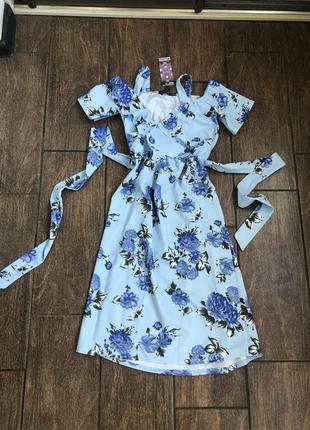 Новое летнее платье с бирками легкое с поясом с оборками англия 🏴 boohoo