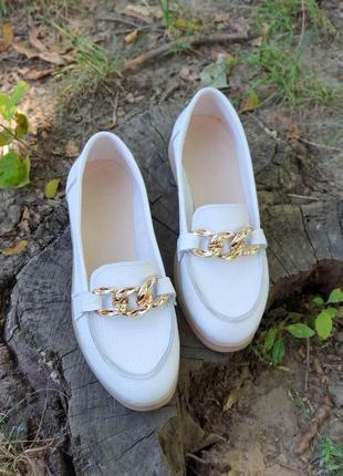 Балетки лоферы туфли натуральная кожа белые