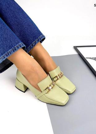 Рфисташковые туфли на каблуке  из натуральной кожи