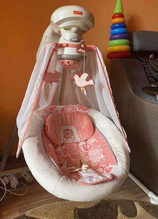 Fisher-price укачивающий центр для новорожденного «коралловый цветочек»