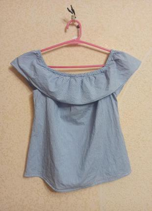 Блуза рубашка футболка топ с оборкой в полоску хлопок м