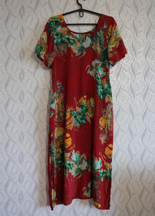 Hand made сатинова сукня з принтом в стилі батік та розрізами по боках