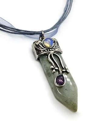 """🌚✨ стильный кулон """"меч"""" натуральные камни лабрадорит, лунный камень"""