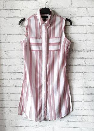 Длинная рубашка блузка без рукавов в полоску atmosphere
