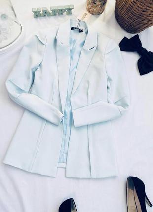 Трендовый пиджак жакет небесно голубого цвета