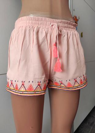 Шорты короткие розовые на резинке со шнурком коттон с подкладкой carminn ,s