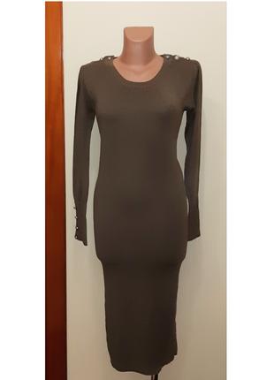 💥1+1=3 базовое платье миди по фигуре renais, цвет хаки, размер 44 - 46