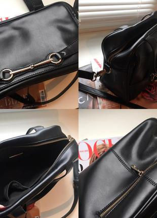 Женская чёрная кожаная сумка luciano carvari