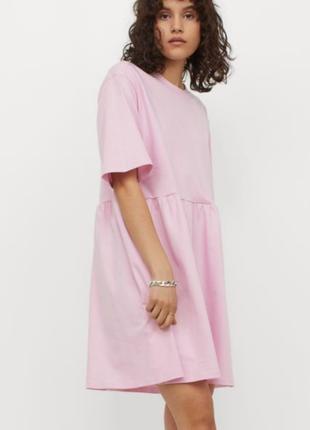 Нежное платье футболка оверсайз тренд свободное хлопок плаття класне легке