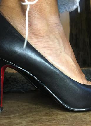 5th avenue туфли лодочки чёрные на каблуке кожаные натуральные