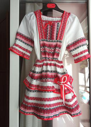 Вишиванка на дівчинку . рубашка + сарафан + повязка на голову з бамбончиками