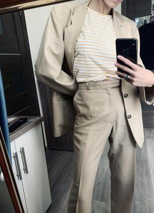 Костюм бежевый двойка пиджак оверсайз летний
