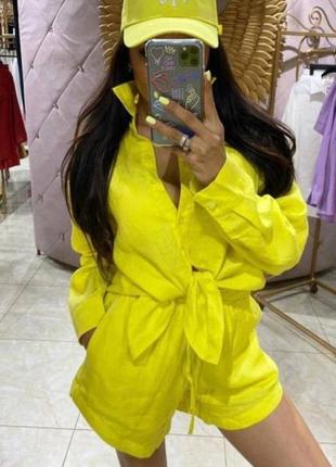 Льняной жёлтый свободный костюм рубашка и шорты оверсайз лён