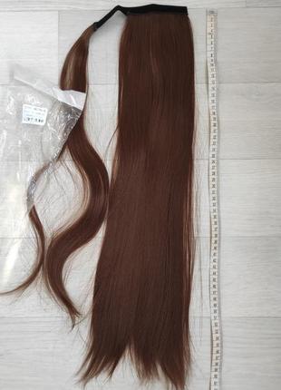 Хвост, оттенок 6, шиньон, искусственные волосы, трессы