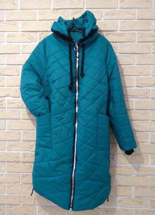 "58 р зима пальто капюшон куртка ""бирюза"" пуховик батал от 50 до 66 мода еще всего много"