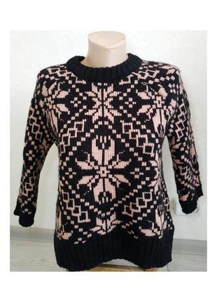 Актуальные вязаный свитер, крупная вязка, интересный прини, джемпер, стильный, модный