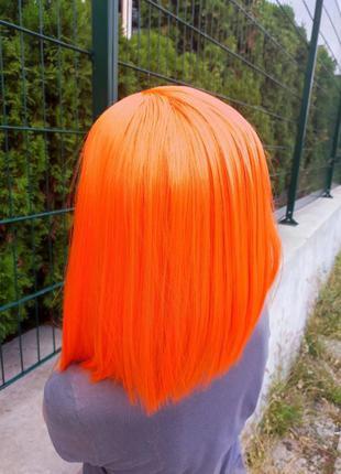 Парик каре оранжевый , ровный без челки