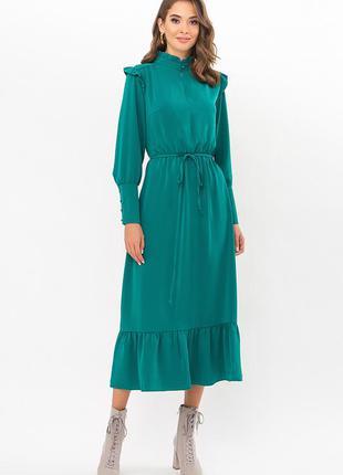 Платье женское элегантное миди зеленое изумруд, офисный деловой нарядный повседневный стиль, осеннее