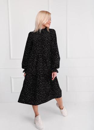 Платье женское миди черное горох и белый горох
