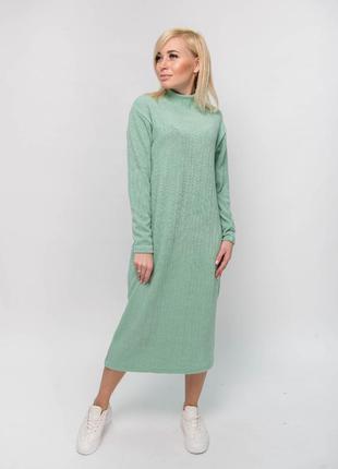 Платье женское миди в рубчик мята