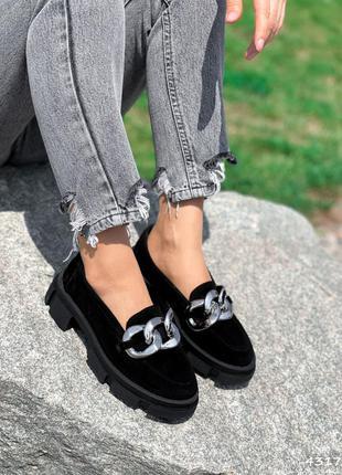 Туфли броги замша