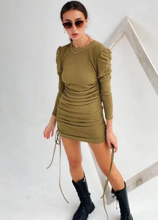 Платье мини трикотаж меринос с рукавом фонарик