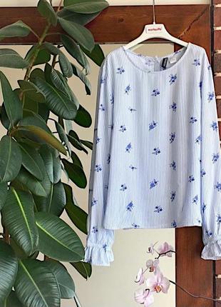 Рубашка в полоску с цветочками на пуговицах h&m