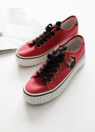 Красивые кроссовки кеды красные микки 38