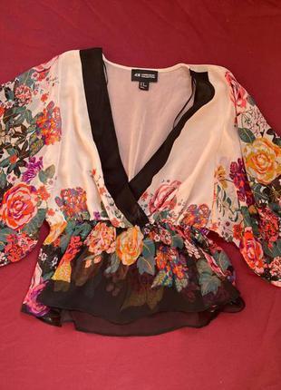 Шикарная блуза кимоно в цветы