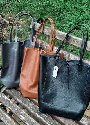 Шоппер сумка натуральная кожа италия