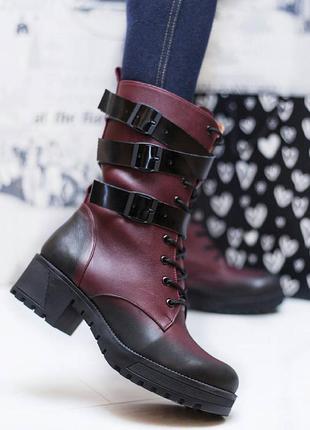 Размеры 36-40. зимние сапоги ботинки из натуральной кожи с затемнением