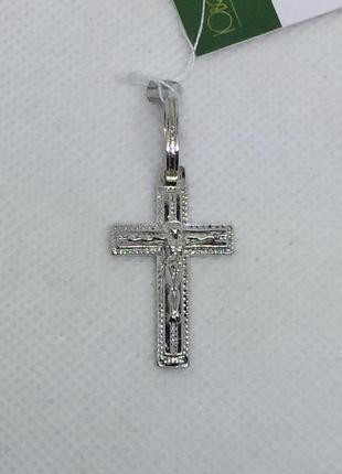 Новый родированый серебряный крестик серебро 925 пробы