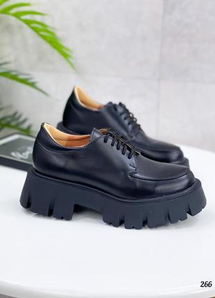 🖤 кожаные женские туфли броги на тракторной подошве чёрные