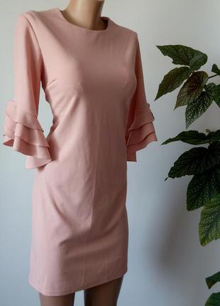 Персиковое платье миди 48 размер офисное нарядное футляр деловое