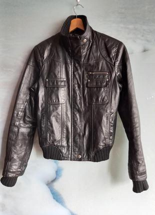 Чёрная кожаная куртка 100% свинная кожа швеция