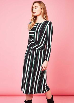 Осеннее платье  в полоску миди 50 52 размер офисное нарядное