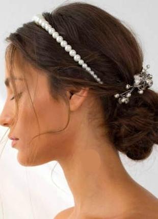 """Милый женский жемчужный обруч тиара для волос на голову из жемчуга """"княжна"""" 17022"""