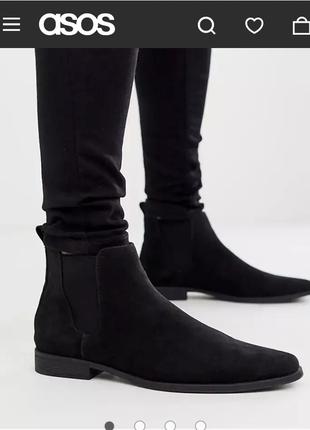 Asos  черные ботинки челси  из экозамши 43, 43,5 р-р