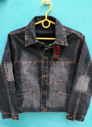 Пиджак джинсовый vip bonis черно серый с сильной теркой