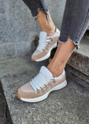 Новая коллекция кроссовки с широкой шнуровкой натуральные