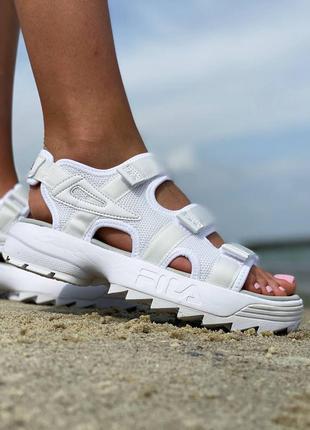 Скидка на последние размеры 🔥женские летние босоножки сандалии fila disruptor белые