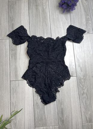 Чёрный кружевной боди от asos