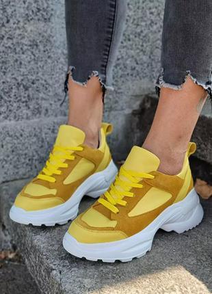 Яркие кроссовки желтые кожа натуральная и замша