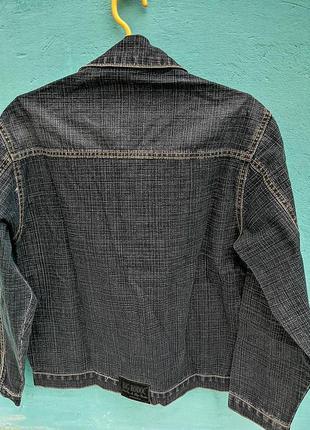 Пиджак джинсовый фиоиыbigrodas дж основа синяя, в клеточку серой ниткоц
