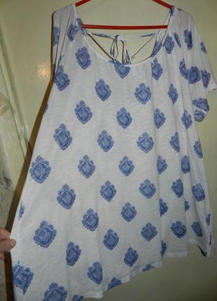 Чудесная,натуральная,трикотажная блузка с шнуровкой по спинке,бохо,большого размера,батал,h&m