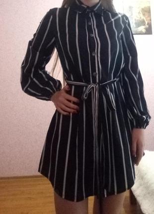 Платье - рубашка в полоску shein