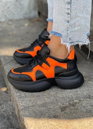 Крутые кроссовки оранж + черный кожа натуральная